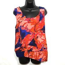 Leifsdottir Women's Shirt Tank Malva Silk Top Blue Orange Floral Asymmetric