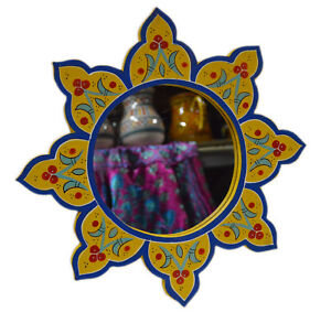 Moroccan Wall Mirror Colorful Hand Painted Wood Mediterranean Decor Yellow/Blue