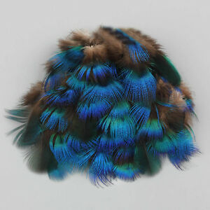 """40PCS Peacock Blue Plumage Feathers 4-7 cm/2-3"""" for Crafts Feather Trimmings"""