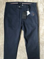 "TED BAKER DARK BLUE ""RECTANG"" SLIM FIT TROUSERS PANTS CHINOS - 30R - NEW & TAGS"