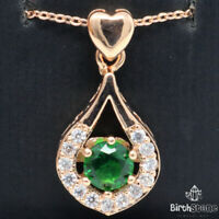 Sparkling Green Emerald Halo Necklace 925 Sterling Silver Women Wedding Birthday