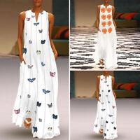 Women Long Dress Ladies Sleeveless Loose Summer V Neck Party Maxi Dress Sundress