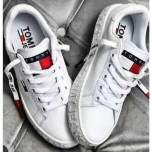 2021 Tommy Hilfiger Damen Herren Sneaker Schuhe Turnschuhe 36-44 weiß