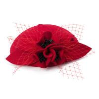 Womens Felted Wool Fascinator Pillbox Round Top Wedding Party Veil Hat T290