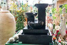 GRC Outdoor Patio Garden Water Feature Small Trio Cascading Cup Fountain Black