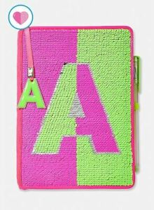 Justice Girls Sequin Neon Flip Sequins Diary Journal Writing Notebook Initial