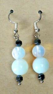 Rainbow Moonstone faceted Hematite Drop Dangle Earrings surgical steel 820cb15