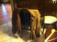 Andrew Marc Leather Flight Bomber Jacket AM2 Men's Size Large Tan / Brown