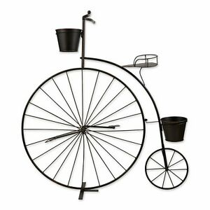 Black Iron Metal Old-Fashioned Bicycle Gorgeous Plant Stand Indoor Outdoor Décor