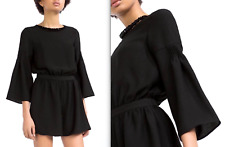 ba4c4ee3fa ZARA BLACK PLAYSUIT JUMPSUIT WITH SHORTS AND BEADED COLLAR NECKLACE XS NEW