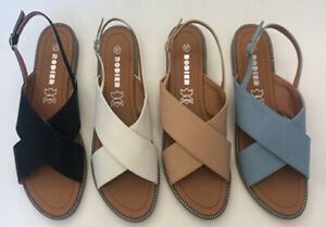LADIES WOMEN NEW ANKLE STRAP SIDE BUCKLE COMFORT FLAT SUMMER SANDALS UK SIZE 3-8