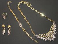 Collier-Set 4 teilig Collier Armband Ohrringe Ring vergoldet Brautschmuck Neu
