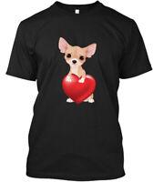 Chihuahua Holding Heart Hanes Tagless Tee T-Shirt