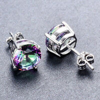 925 Sterling Silver Round Cut Mystic Rainbow Topaz Zircon Stud Earrings Jewelry