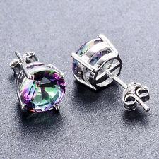 925 Silver Round Cut Mystic Rainbow Fire Topaz Stud Earrings Jewelry