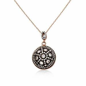 "20"" Art Deco Rose Gold Chain Necklace 925 Silver Turkish Handmade Women Jewelry"