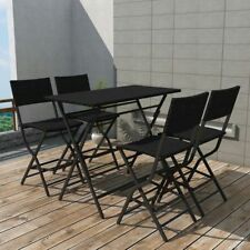 Garden Outdoor Dining Set 5 Pieces Poly Rattan Black Folding Bar Table Chairs