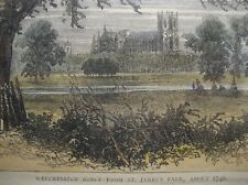 Westminster Abbey from St.James's Park about 1740 c1880 colored engraving