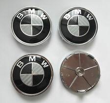 4 TAPA PARA LLANTA DE BMW DE 68 MM NEGRO Y GRIS CARBONO EMBLEMA E30 E46 X6 LOGO