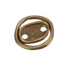 ROUND Oro Antico Pulsante OVALE SCHIACCIATA in metallo fibbia 22mm Confezione da 1 (e91/10)
