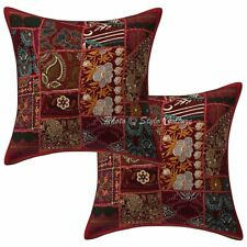 "Ethnic Floral Sofa Cushion Cover Kantha Printed Pillowcase Cover 16"" Throw"