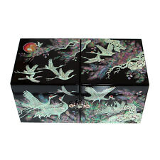Mother of Pearl Inlay Moon Luxury Crane Lacquer Wood Jewelry Keepsake Chest Box