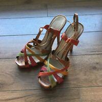 "Nine West Ankle Strap Sandal Pump sz 7 Leather Brown Pink 3"" Stiletto Heel"