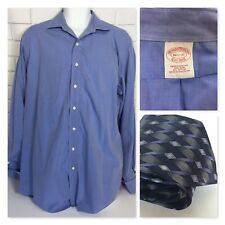 Brooks Brothers 1818 Mens Button Up Casual Dress Shirt Blue No Iron 16.5 37