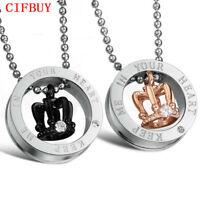 CIFBUY Modeschmuck Edelstahl Anhänger Paar Halskette Kristall Weihnachtsgeschenk