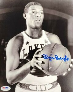 Elgin Baylor Signed Autographed 8X10 Photo Vintage B/W Los Angeles Lakers PSA
