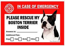 Boston Terrier Pet Savers Emergency Rescue Window Cling Sticker