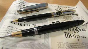 Sheaffers Black Snorkel Pen, Pencil Set In Box with original 1955 tags