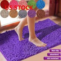Shaggy Microfiber Soft Bathroom Non-Slip Mats Bath Shower Rug US Colours 5