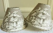SUPERBE ABAT-JOUR PINCE TISSU TOILE DE JOUY 14 x 20 cm POUR LAMPE COLIN MAILLARD