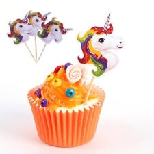 24pcs Unicorn Cupcake Toppers Picks Kids Birthday Party Baby Shower Decor