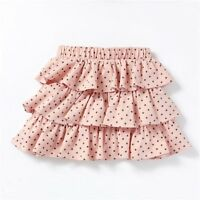 GIRLS PINK POLKA DOT TIERED RARA SKIRT IN JERSEY AGES 3 4 AND 5 YEARS BRAND NEW