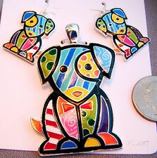 "Colorful Enamel Patchwork Puppy Dog 2 1/2"" Pendant & 1 1/2"" Dangle Earrings-"