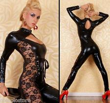 Sexy Fetish Overall Tuta JumpSuit Catsuit NERA Vinile PVC WetLook e Pizzo Nero