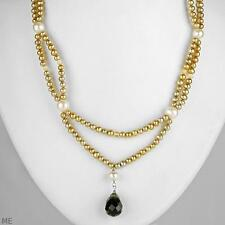 EXQUISITE GENUINE TOPAZ, CITRINE, FRESHWTER PEARL TWO STRAND NECKLACE