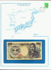 JAPAN BANK NOTE 1000 YEN PICK # 100 STAMPED WINDOWED ENVELOPE with MAP & INFO
