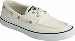 NEW Mens SPERRY TOP SIDER BAHAMA II Salt Washed White CANVAS Boat Shoes GENUINE