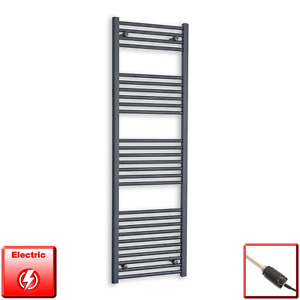 500mm Wide 1600mm High Flat Anthracite Pre-Filled Electric Towel Rail Radiator