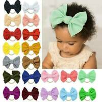 Newborn Baby Girl Cute Solid Headwear Hair Band Elastic Bow Knot Headband Turban