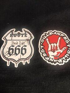 2 SKATEBOARD / Music Stickers ROute 666 Dead End & Gillmanfest