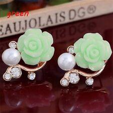 Jewelry Pearl Rose Flower Earrings Rhinestone Ear Studs Green