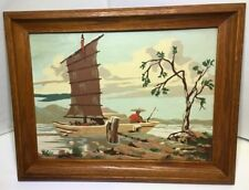 Vtg Fisherman Boat Dock Oriental Paint By Number Painting W/ Oak Wooden Frame