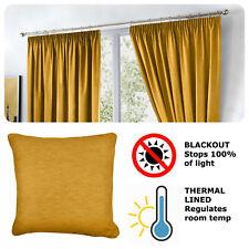 Fusion DIJON Ochre Yellow - Blackout Pencil Pleat Curtains, Tiebacks & Cushions