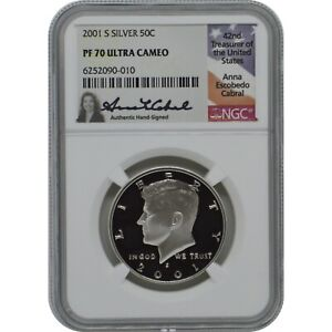 2001-S Proof Silver Kennedy NGC PF70 Ultra Cameo Anna Cabral Signature Label