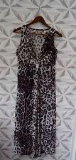 ANIMAL PRINT SLEEVELESS V NECK MAXI EVENING DRESS SIZE UK 10 PARTY CRUISE  A19