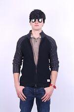 Schott Mens M Jumper Sweater Black Full Zipper Cotton